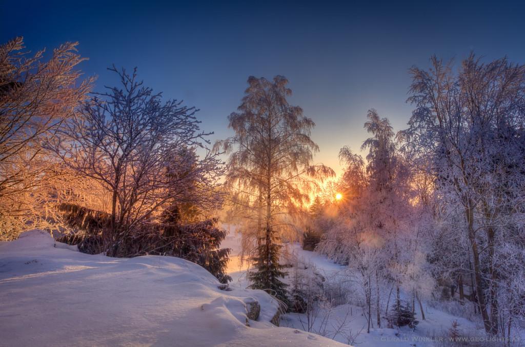 an einem klirrend kalten Wintermorgen